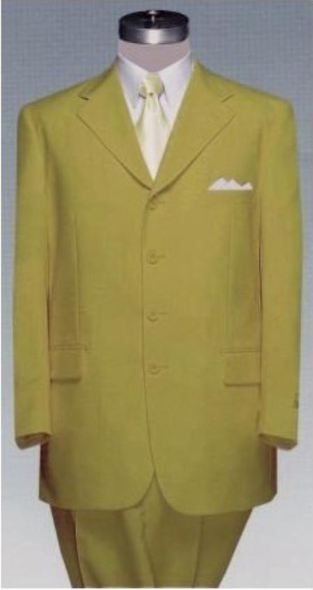 SKU#TS67 Mens 4 (four) button Single breasted HARVEST GOLD Double Pleated Fully Lined Suit