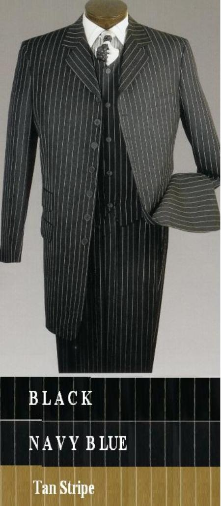 SKU# WTY478 Mens 7 Button 3pc Suit. Classic 38 Inch Jacket with a fully lined vest in Super Wool Feel $139