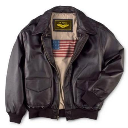 SKU#NA234 Mens Air Force A-2 Flight Leather Bomber Jacket $129