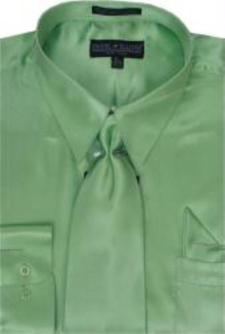 SKU#KA347 Mens Apple Green Shiny Silky Satin Dress Shirt/Tie $59