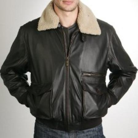 SKU#KC775 Mens Aviator Leather Bomber Jacket $272