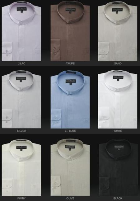 SKU#MUds3001c Mens Basic Banded Collar Shirt Long Sleeve in many colors $49