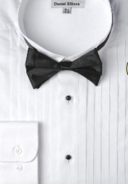 SKU#PA523 Mens Basic Tuxedo Shirt with Bow Tie