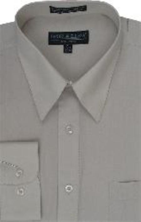 SKU#HU723 Mens Beige Dress Shirt