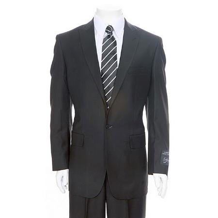 SKU#BL467 Mens Black 1-One button Peak Lapel Suit + Flat Front Pants Super 150s Wool Slim Fit