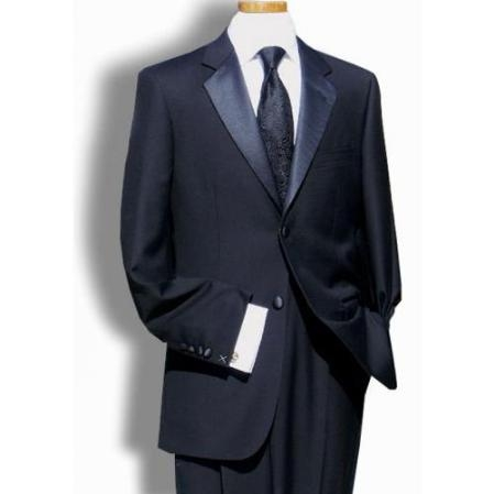 SKU#ML6475 Pleated Pants (Regular Fit Jacket) Mens Black 2 Button Super 150s Wool Tuxedo Signature Platinum Stays Cool Discounted Sale