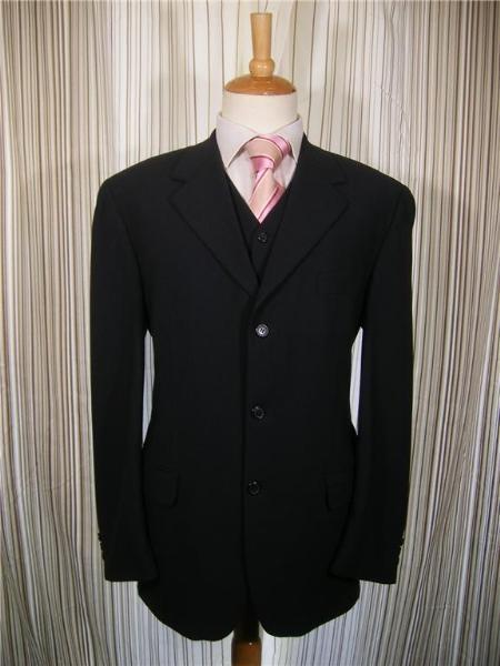 SKU#KX8187 Mens Black 3 Button Vested 3 Piece three piece suit - Jacket + Pants + Vest