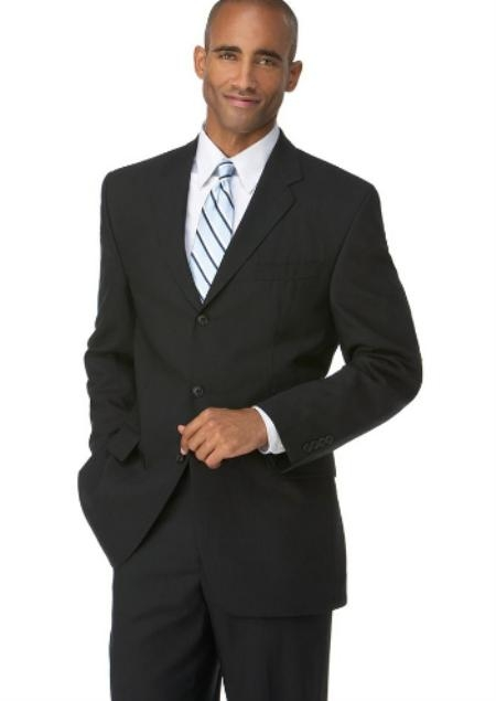 SKU#VZ1987 Mens Black 3 Button Polyester affordable suit online sale $109