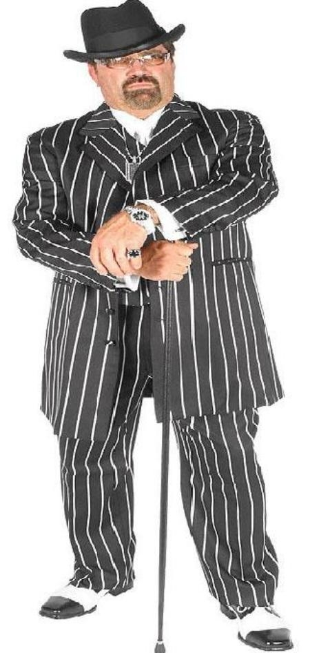 SKU#DBA707 Mens Black & Bold Very White Pinstripe Gangester Zoot Suits