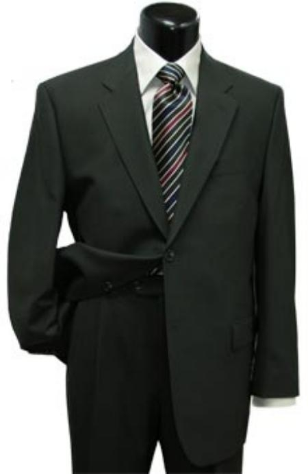 SKU#CLK500 Mens Black Classic Two Button Style Super Wool Suit