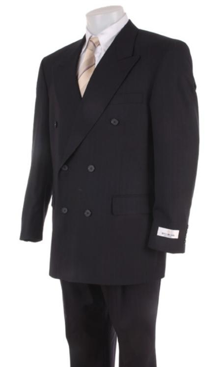 SKU# DBB Mens Black Dress Double Breasted Light Weight Suit