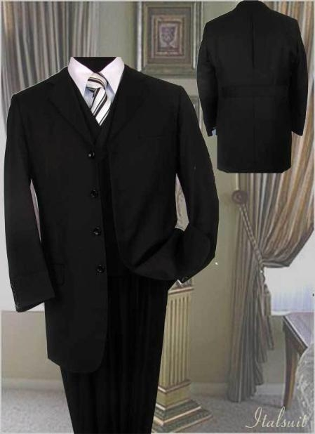 SKU#UJ928 Mens Black Fashion Suit 3PC With Vest & Wide Leg Pants Hand Made $179