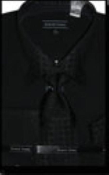 SKU#BK3642 Mens Black French Cuff Dress Shirt with Matching Tie and Hanky $65