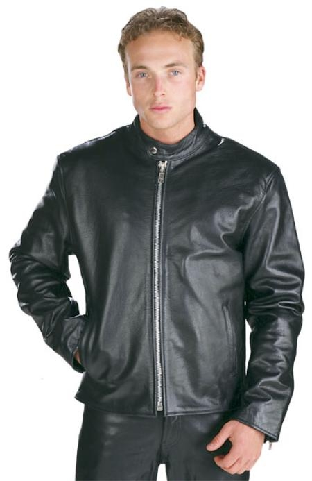 SKU#IJ515 Mens Black High Grade Motorcycle Racer Leather Jacket Black