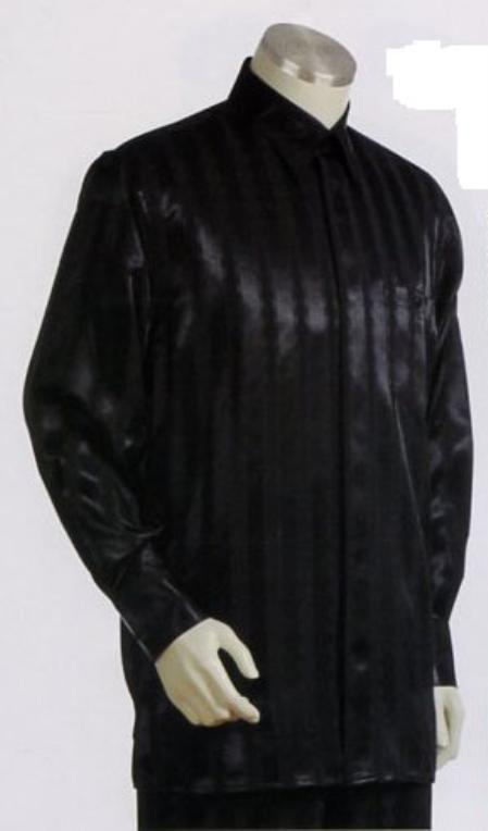 SKU#DM639 Mens Black Long Sleeve 2pc Set including Matching Wide Leg Dress Pants $125