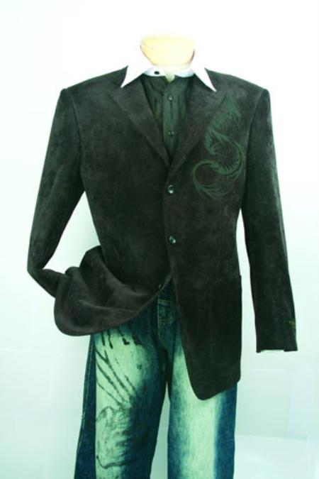 SKU#DN206 Mens Black Luxurious Corduroy Fashion Sport Coat $99
