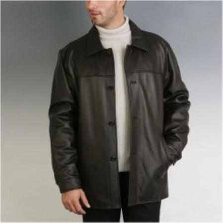 SKU#HA819 Mens Black New Zealand Lambskin Leather Car Coat $950