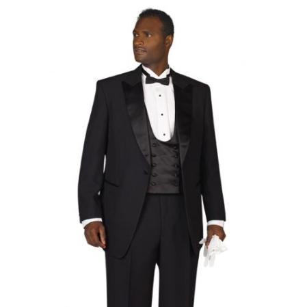 SKU#PL1976 Mens Black Peak Lapel Tuxedo $139