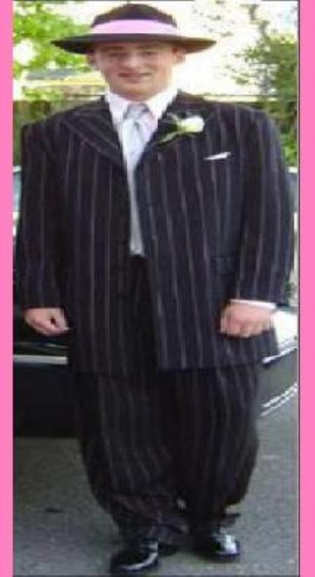 SKU# QEN906 Mens Black & Pink Pinstripe Fashion Zoot Suit $139