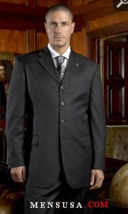 SKU#A64TRS Mens Black Pinstripe 4 Buttons  non back non back vent coat style coat Suits Double Pleat