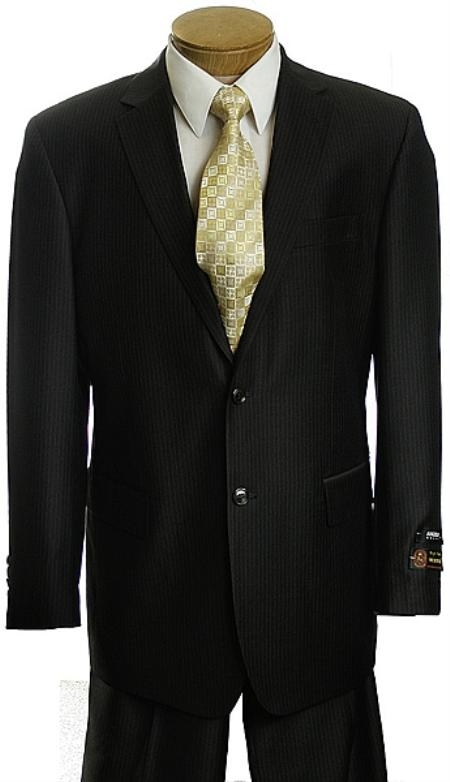 SKU#VB3422 Mens Black Pinstripe 2 Button affordable suit online sale