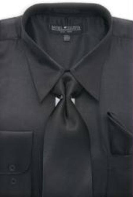 SKU#MA171 Mens Black Shiny Silky Satin Dress Shirt/Tie