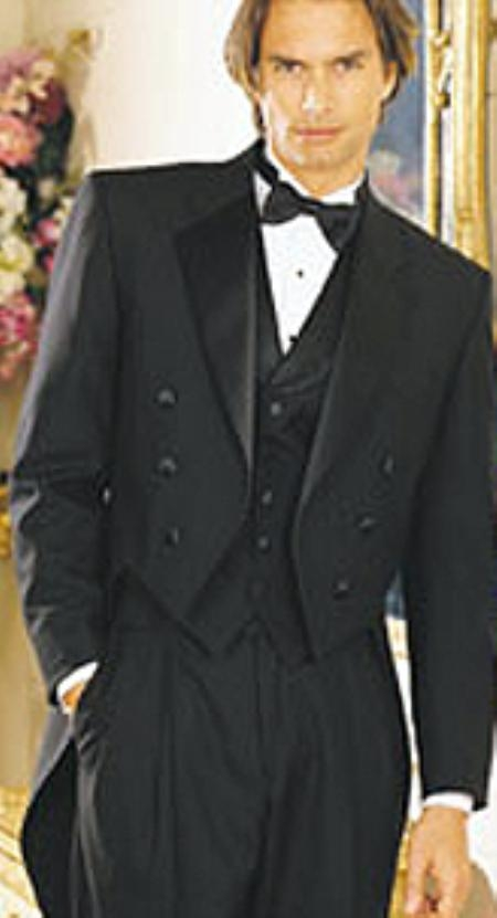 SKU#NI795 Mens Black Six Button Notch Lapel Tailcoat