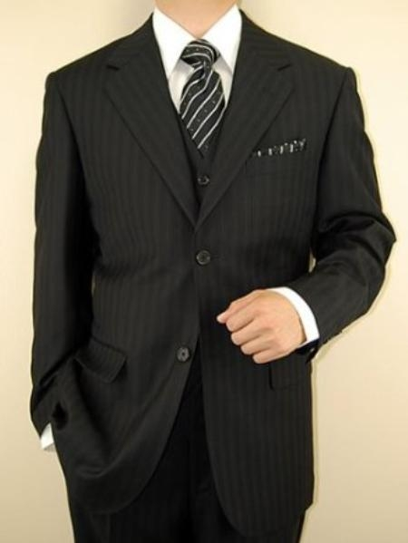 SKU#NH8811 Mens Black Ton on Ton Stripe ~ Pinstripe Vested 3 Piece three piece suit - Jacket + Pants + Vest $139