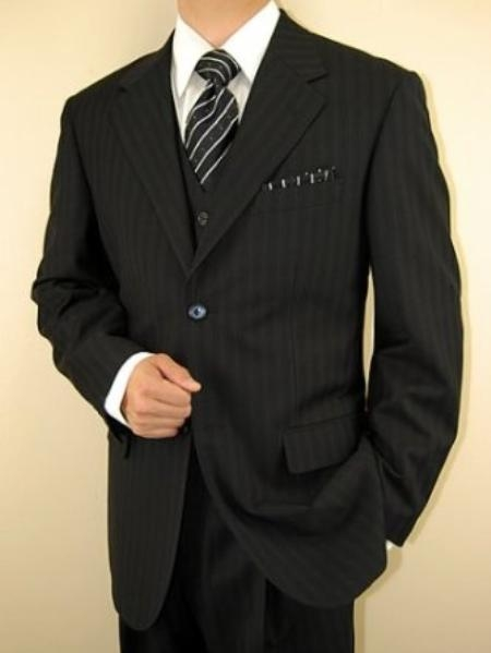 SKU#JJ9642 Mens Black Ton on Ton Shadow Stripe Vested 3 Piece three piece suit - Jacket + Pants + Vest $139