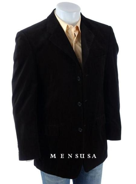 SKU# RNR724 Mens Black Velvet~Suade Three-button Blazer $149