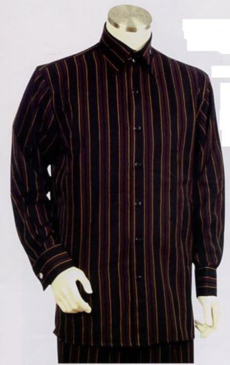 SKU#XU422 Mens Black-Wine Long Sleeve 2pc Set with French Cuff Shirt $89