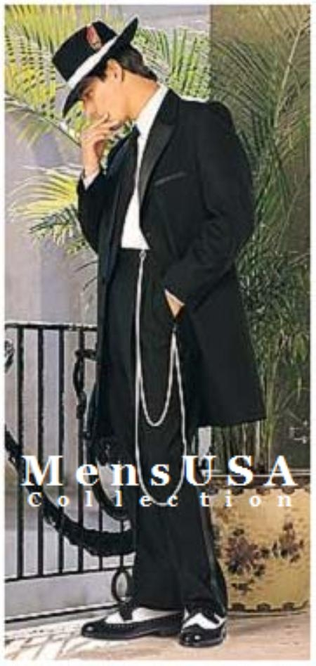 SKU 8722 Mens Black dress zoot suit tuxedos White Shirt Black Tie
