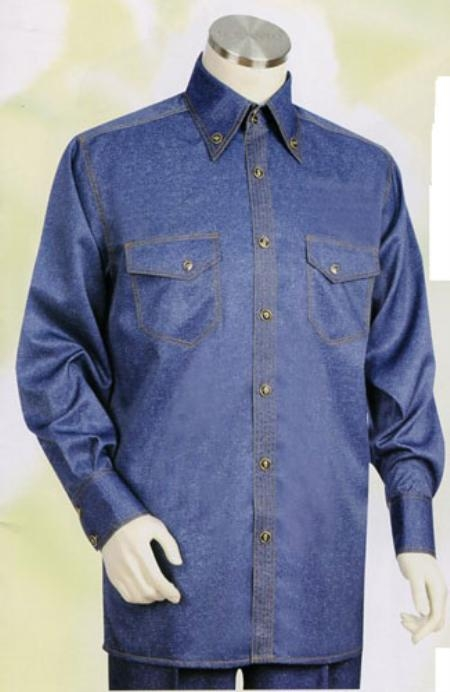 SKU#AM643 Mens Blue Long Sleeve 2pc Set including Matching Wide Leg Dress Pants $125