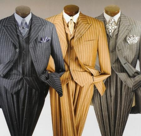 SKU# LSH826 Mens Bold Wide Nice Pinstripe Fashion Dress Long Zoot suit $139