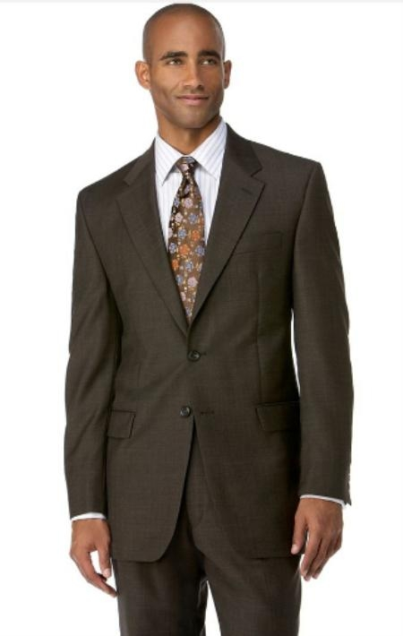 Men's Brown 3 Button Polyester affordable suit online sale 7165R36