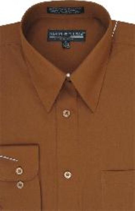 SKU#HE254 Mens Brown Dress Shirt