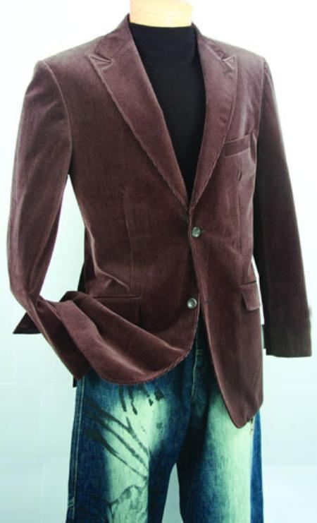 SKU#UV733 Mens Brown Fashion Sport Coat Velvet Fabric $139
