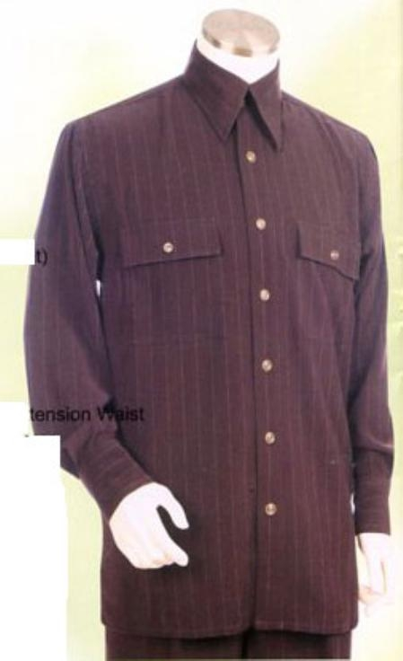 SKU#GT723 Mens Brown Long Sleeve 2pc Set with French Cuff Shirt including Wide Leg Dress Pants $125