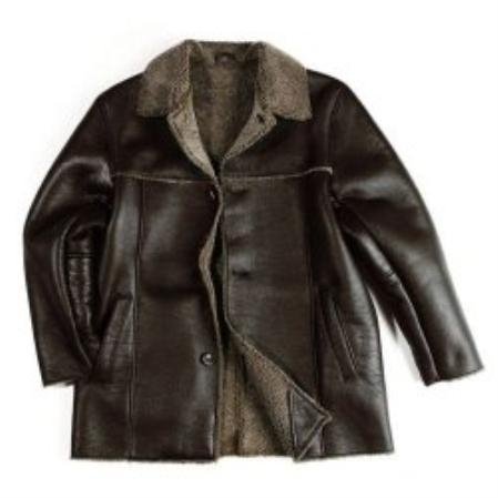 SKU#JK610 Mens Brown Sheepskin Shearling Car Coat $389