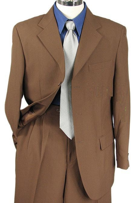 SKU#EMIL_C73  Mens Light Brown Single Breasted Dress Cheap Suit $79