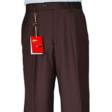 SKU#DK531 Mens Brown Single-pleat Wool Dress Pants