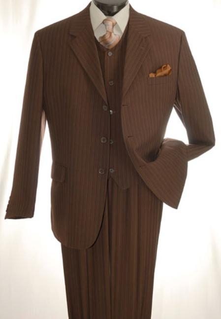 SKU#DS444 Mens Brown Three Piece three piece suit with Three Buttons $169