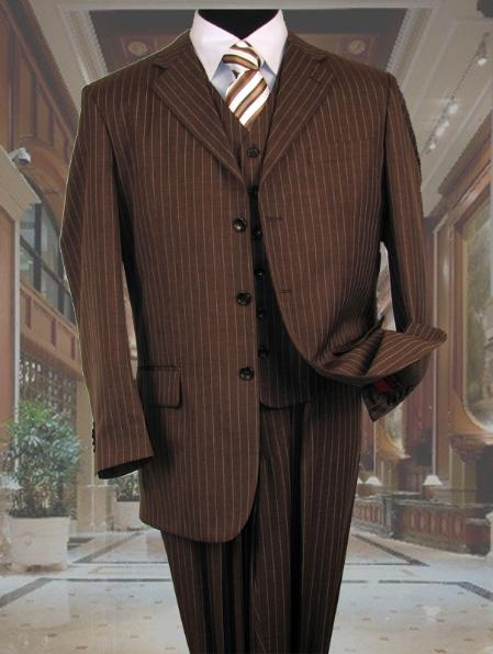 SKU#5802V Mens Brown With Cream Pinstripe Vested 3 Piece three piece suit - Jacket + Pants + Vest $139