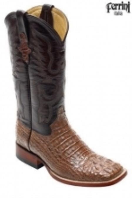 SKU#SL610 Mens caiman ~ alligator Crocodile ~ Alligator Head S-Toe Boots $368