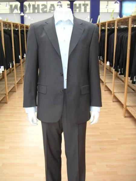 SKU#WBGI79 Mens Charcoal Gray Single Breasted Discount Cheap Dress 2 or 3 Buttons Cheap Suit