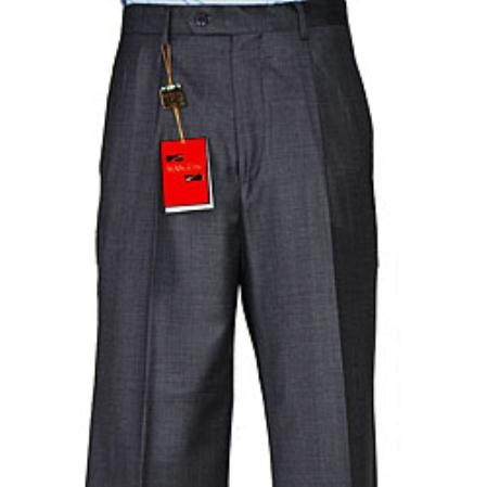 SKU#HS902 Mens Charcoal Grey Wool Single-pleat Pants