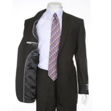 SKU#CB651 Mens Chocolate Brown Two-button Pinstripe Suit $99