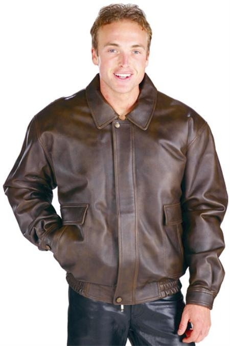 MensUSA.com Mens Classic Aviator Brown Bomber Jackets Brown(Exchange only policy) at Sears.com
