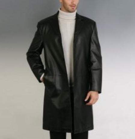 SKU#GA719 Mens Classic Leather Walking Coat $272