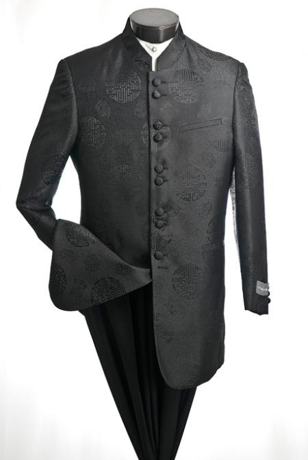 SKU#PT890 Mens Classic Mandarin Collar Two Piece Suit $199